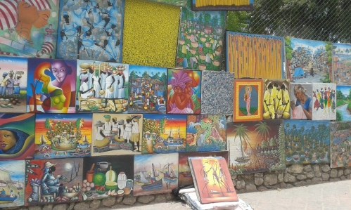 Pinturas Haitianas en calles de Pettion Ville- Port au Prince.